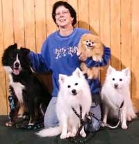 Terry Woods with her working dogs